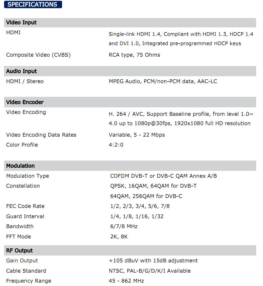 Thông số điều chế HD Winersat M-100