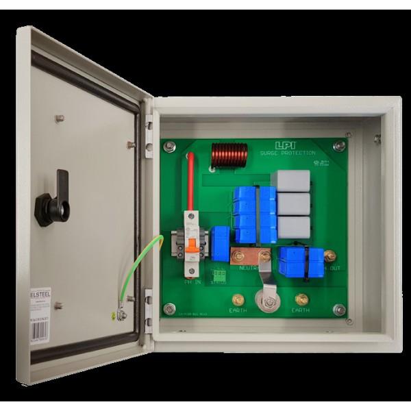 Tủ cắt lọc sét 1 pha 63A: LPI SF163-385-100+50-AIMCB